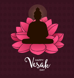 Vesak day card buddha and pink lotus flower vector