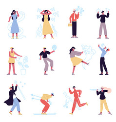 virtual reality characters people in augmented vector image