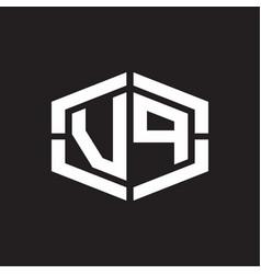 Vp logo monogram with hexagon shape and piece vector