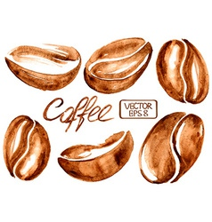 Watercolor coffee beans icons vector image