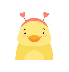 Yellow duckling wearing a headband with heart vector