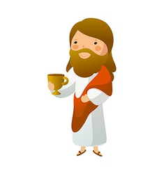 Close-up of Jesus Christ holding cup vector image