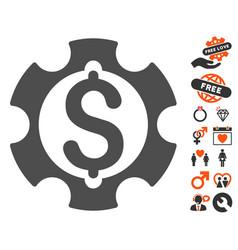 Financial development gear icon with valentine vector