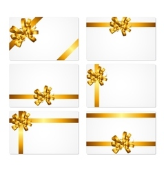 Gift Card with Gold Bow and Ribbon Set vector image