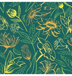 Green floral pattern with bright colors vector image vector image