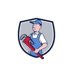 Handyman pipe wrench crest cartoon vector