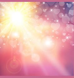 happy valentines day shiny sunlight heart bokeh vector image vector image