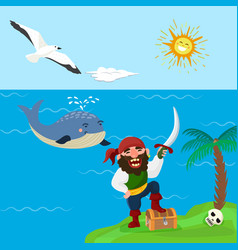 pirate treasure adventure sea nautical vector image