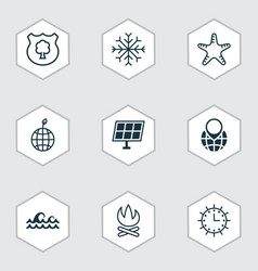 set of 9 ecology icons includes pin earth ocean vector image vector image