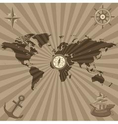 World map with nautical symbols vector image