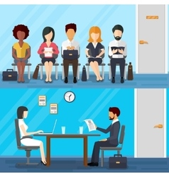 Business people waiting for job interview vector