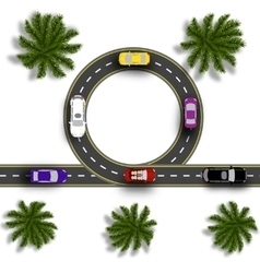Road with a marking Cars Realistic tree top view vector image