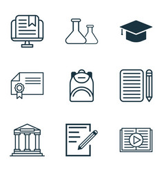 set of 9 school icons includes taped book vector image vector image