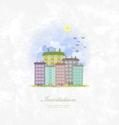 vintage invitation card with cute city vector image