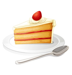 A slice of cake with white icing in a plate vector image vector image