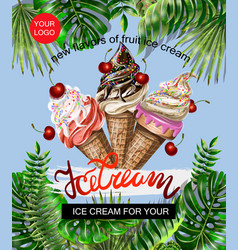 banner for site or print border with ice cream vector image