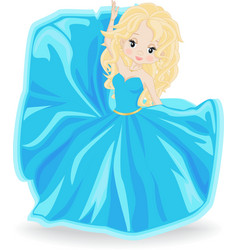 blonde girl in blue evening dress vector image vector image