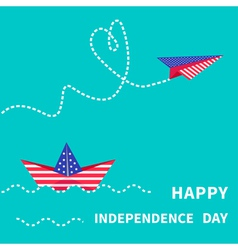 boat and paperplane Happy independence day vector image vector image
