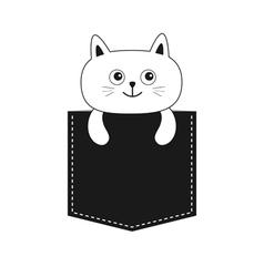 Cat in the pocket Cute cartoon kitten contour vector image vector image