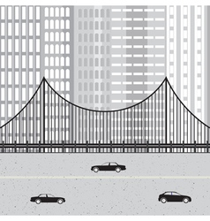 Cityscape with highway cars bridge and skyscraper vector image vector image