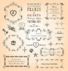 Flourishes Frames and Hearts Set vector image
