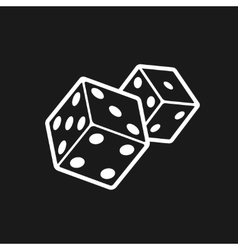 Two dices isolated on black background vector image