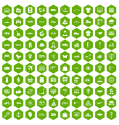 100 logistic and delivery icons hexagon green vector image