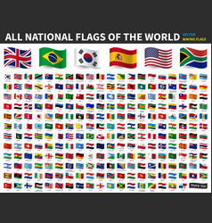 All national flags world waving flag vector