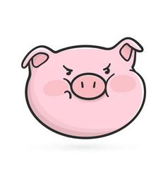 angry emoticon icon emoji pig vector image