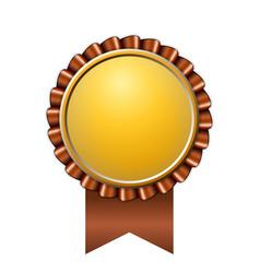 Award ribbon gold icon golden brown medal design vector