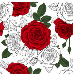 Beautiful vintage seamless pattern with red black vector