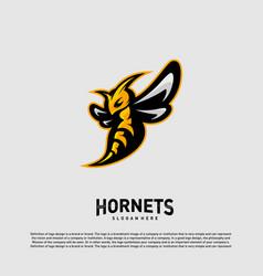 Bee logo design hornets logo template icon symbol vector