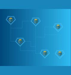 Blockchain komodo symbol on blue background vector