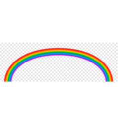 Bright arched rainbow on transparent vector
