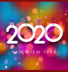 Bright colorful 2020 happy new year poster vector