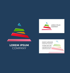 Business card template with colorful pyramid logo vector