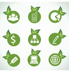 Business icons and design with green leaf vector