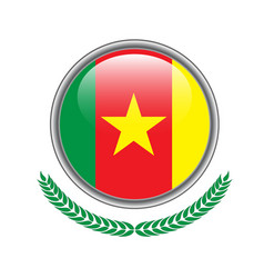 cameroon flag button cameroon flag icon of vector image