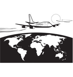 cargo plane flying around world vector image
