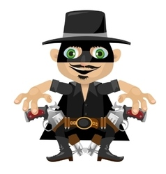 Cartoon character in Wild West style robber vector