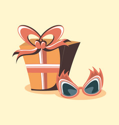 cheerful glasses and gift box decoration retro vector image