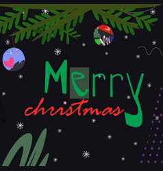 christmas tree branch with toys with merry vector image