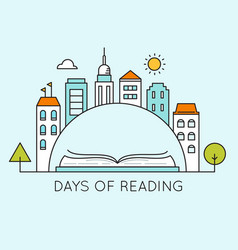 City and open book days of reading sign vector