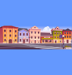 city street with houses and empty road vector image