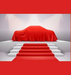 Cloth covered car presentation vector