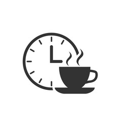 Coffee break icon in flat style clock with tea vector