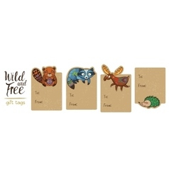 collection woodland gift tags vector image