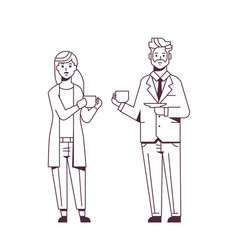 couple businesspeople drinking cappuccino during vector image