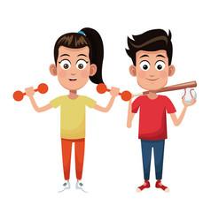 couple children sport weight baseball vector image