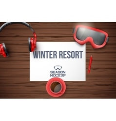 Creative ski workplace with white paper Top view vector